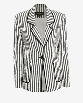 Yigal Azrouel Side Strap Striped Blazer