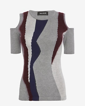 Yigal Azrouel Intarsia Cold Shoulder Knit