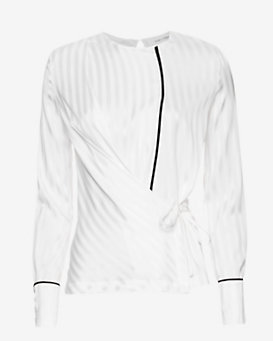 Yigal Azrouel Piped Wrap Blouse