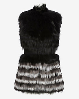 Yigal Azrouel Leather Waist Fur Vest