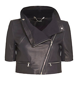 Yigal Azrouel Short Sleeve Crop Leather Jacket: Navy