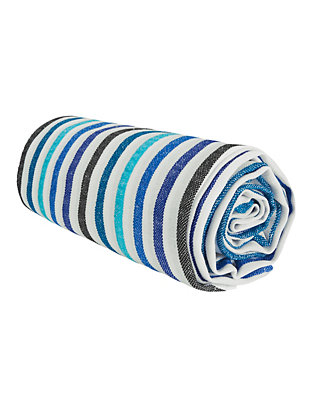 Las Bayadas Luisa Striped Beach Blanket: Blue