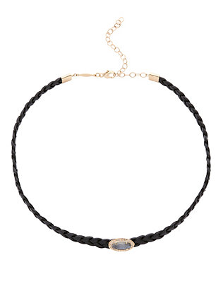 Braided Leather Pavé Oval Labradorite Choker