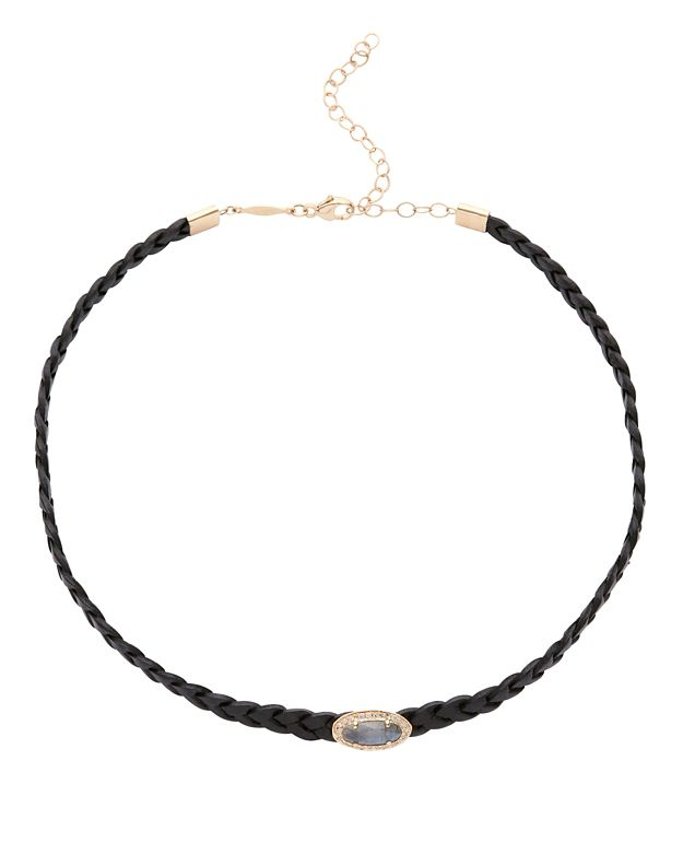 Jacquie Aiche Braided Leather Pavé Oval Labradorite Choker