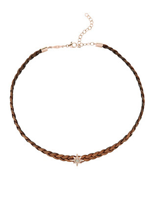 Jacquie Aiche Braided Leather Pavé Opal Starburst Choker