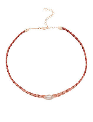 Braided Leather Pavé Oval Moonstone Choker