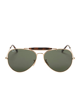 Ray-Ban Classic Brow Bar Aviator Sunglasses: Green