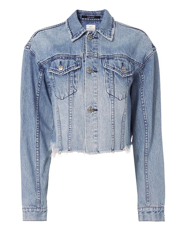 Ksubi Daggerz Distressed Denim Crop Trucker Jacket