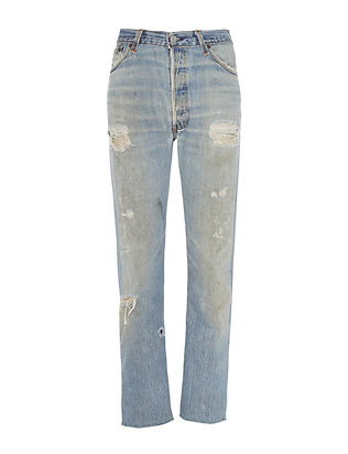 Deconstructed Relaxed Crop Jeans
