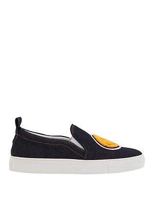 Joshua Sanders Smiley Patch Dark Denim Slip On Sneaker