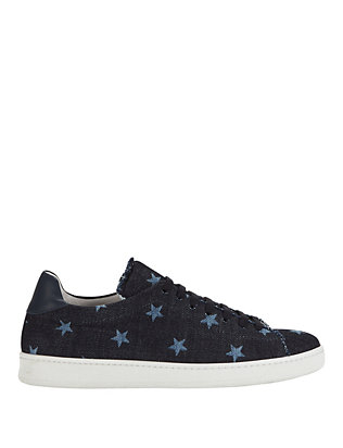 Joshua Sanders Star Print Denim Lace-Up Sneakers