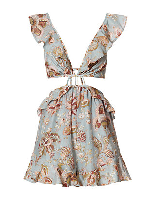 Zimmermann Pavillion Print Cut Out Ruffle Romper