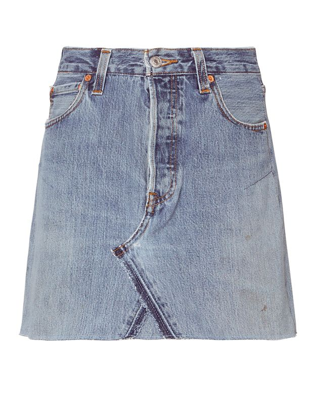 Re/Done Jean Skirt