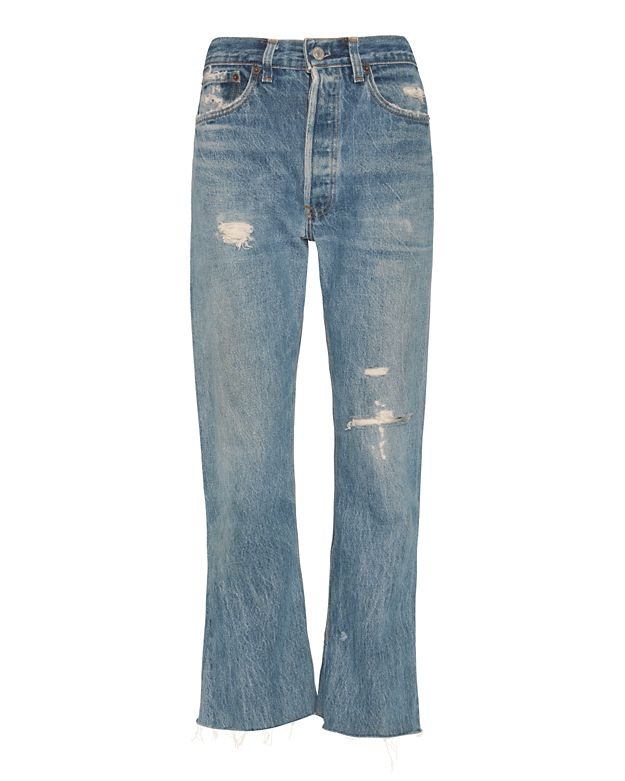 Re/Done Leandra High-Rise Rip Crop Flare Jeans