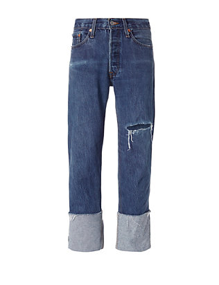 Re/Done Straight Cuff Destroyed High-Rise Jeans