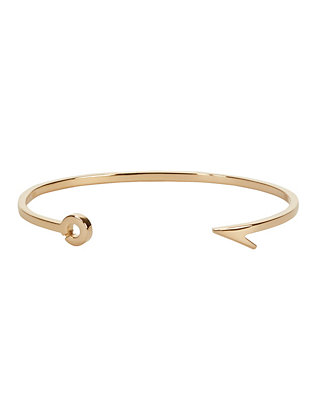Thin Fish Hook Cuff: Gold