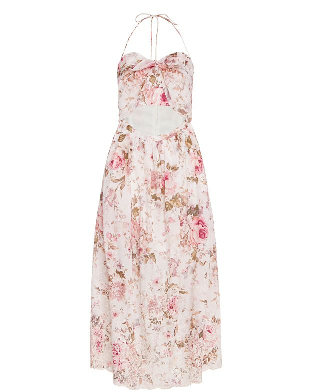 Zimmermann Eden Floral Embroidery Tie Dress
