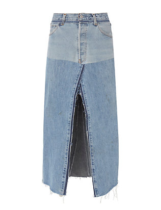 Re/Done Seamed Denim Midi Skirt