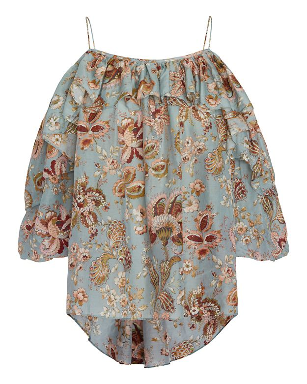 Zimmermann Pavilion Print Off The Shoulder Ruffle Top