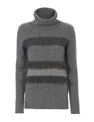 Christopher Fischer Fringe Trim Turtleneck