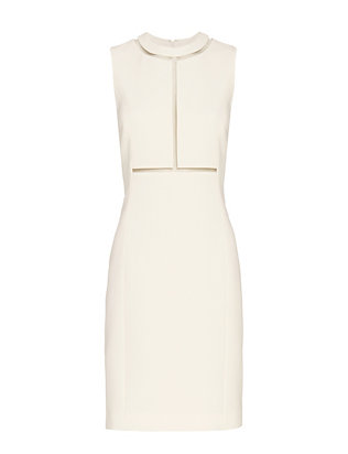 Alexander Wang Fishline Detail Fitted Sheath Dress: White
