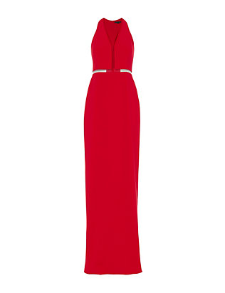Alexander Wang Red V-Neck Fishing Line Gown