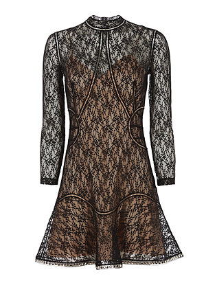 Alexander Wang Studded Hem Lace Mini Dress