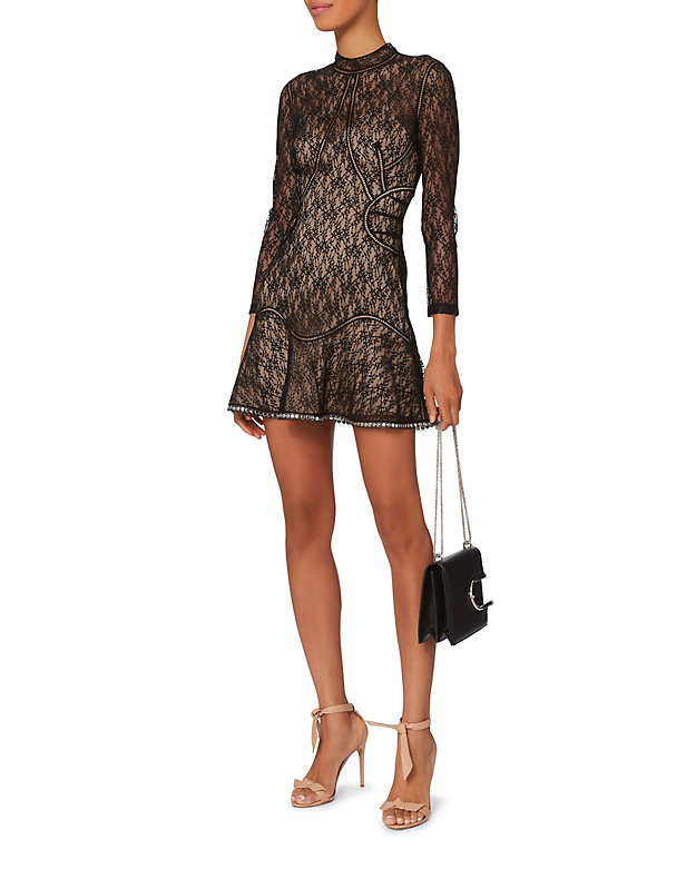 Alexander Wang Studded Hem Lace Mini Dress Shop