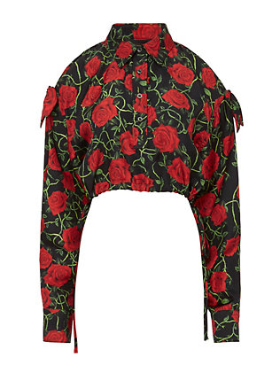 Alexander Wang Rose Print Slit Sleeve Top