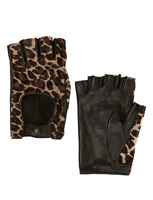 Agnelle Cheetah Print Haircalf Fingerless Driving Gloves