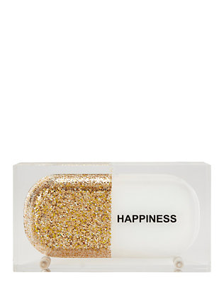 Sarah's Bag Gold Glitter Happiness Pill Clutch
