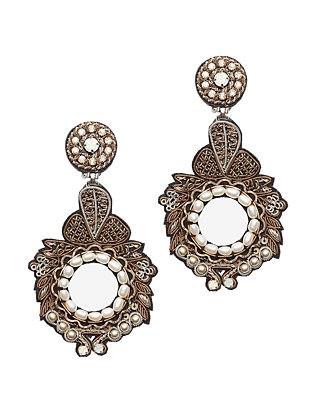 Ranjana Khan Gold/Pearl Round Drop Earrings