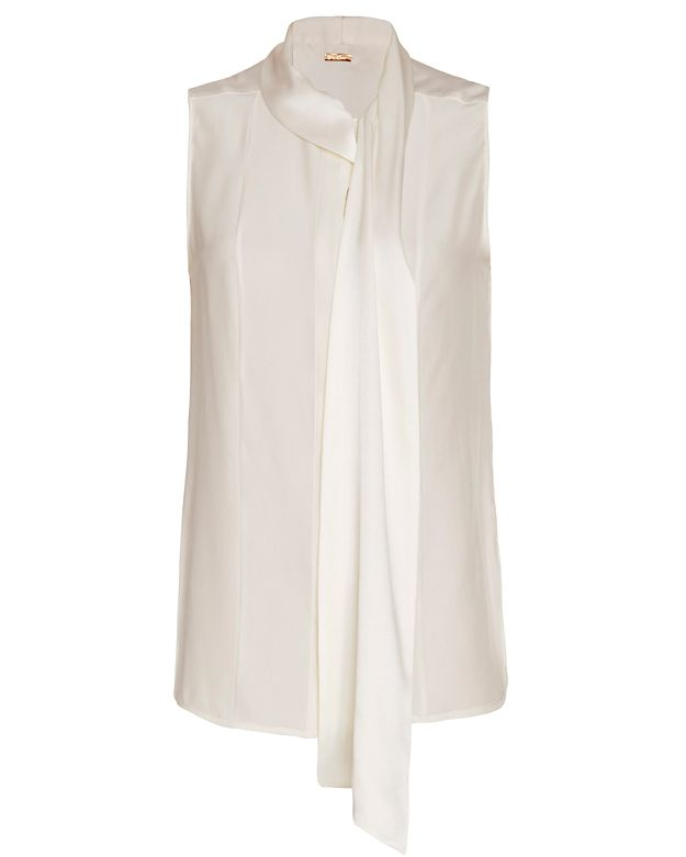 Adam Lippes Neck Tie Sleeveless Blouse: Ivory