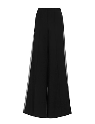 Adam Lippes Sheer Inset Wide-Leg Pant: Black