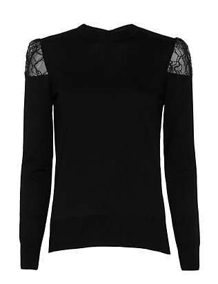 Adam Lippes Lace Shoulder Detail Crew Knit