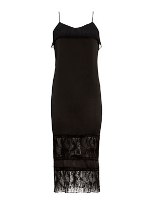 Adam Lippes Lace Inset Cami Dress: Black