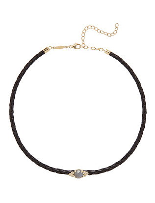 Jacquie Aiche Labradorite/Diamond Leather Choker