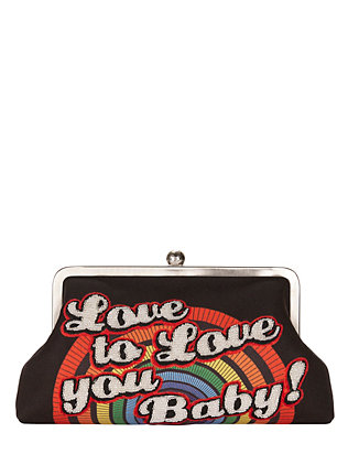 Sarah's Bag Love You Baby Embellished Clutch
