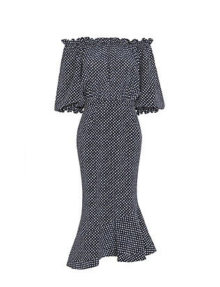 Saloni Grace Off The Shoulder Polka Dot Dress