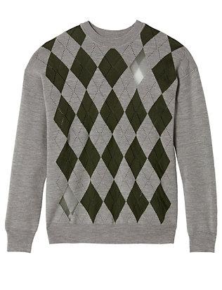 Sheer Diamond/Argyle Pattern Pullover
