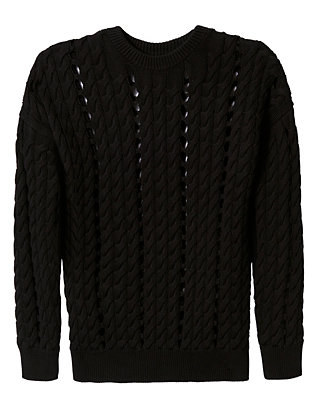 Intarsia Slit Cable Knit Pullover