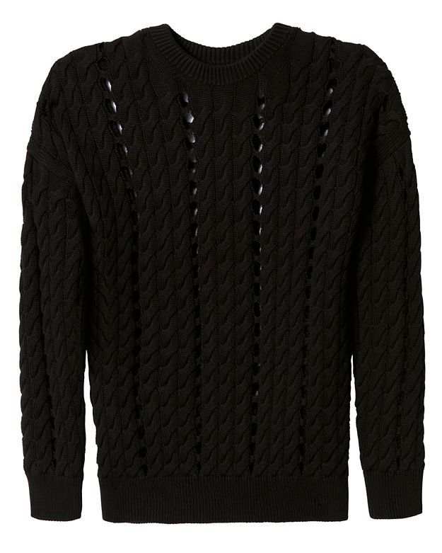 Alexander Wang Intarsia Slit Cable Knit Pullover