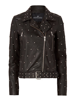 Aida Crystal Biker Leather Jacket