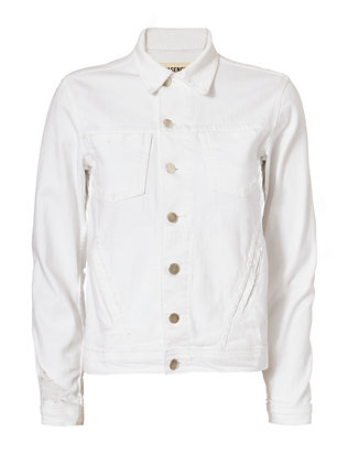 L'Agence Celine Distressed Jacket: White
