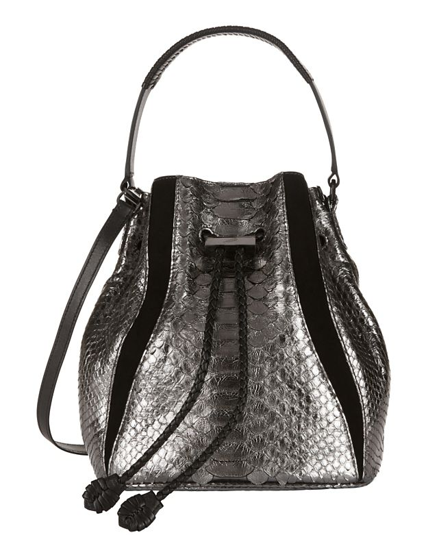 Khirma Eliazov Silver Python Mini Bucket Bag