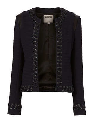 Lace-Up Bouclé Jacket