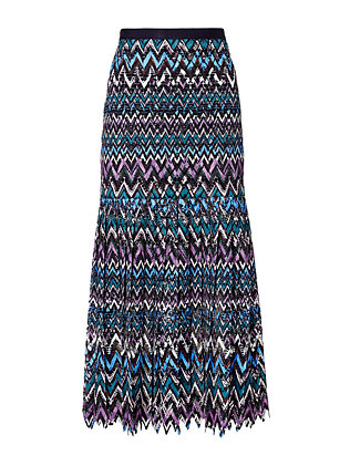 Saloni Diana C Chevron Lace Skirt