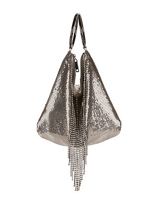 Mesh Fringe Double Ring Clutch