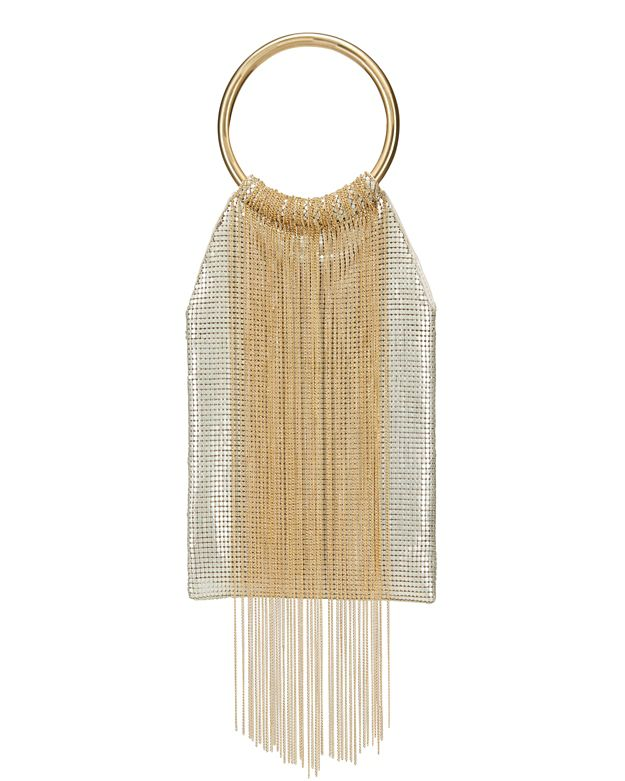 Whiting & Davis Gold Rush Fringe Mesh Circle Clutch: White