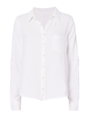 CP Shades Double Gauze White Button Down Top
